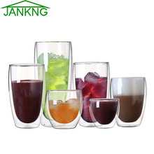 JANKNG 1 Pcs Heat-resistant Double Wall Glass Cup Beer Coffee Cup Set Handmade Creative Beer Mug Tea Mugs Transparent Drinkware(China (Mainland))
