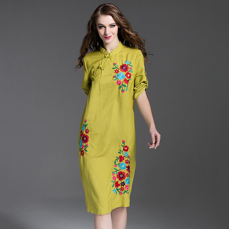 2016 New Summer Style Flower Embroidery Half Sleeve Vintage Dress Women Elegant Linen Dress Vestidos Ladies Knee Length Dress