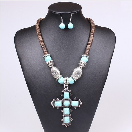 National style Malaysia imports natural coconut shell with turquoise cross pendant necklace(China (Mainland))