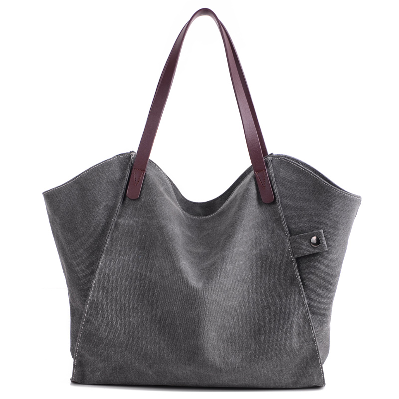 KVKY New Women Shoulder & Hand Bags Soft Canvas Gray Blue Brown White Hot Sale Fashion Design For Shopper Girl PU Leather Handle(China (Mainland))