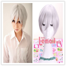 Hot Sale Cheap 25cm Short Silver Grey Evangelion Cosplay Wig