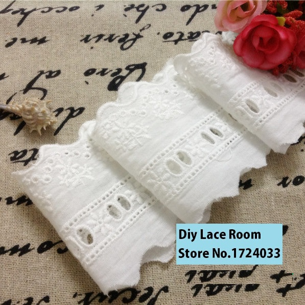 2.75inch 7cm 10yard/ Pack Cotton Lace Cloth Trimming Embroidered Lace Hollow Out White Cotton Fabric(China (Mainland))