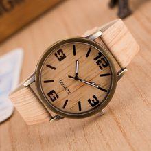 Relojes de grano de madera Vintage de cuarzo para hombres y mujeres Relojes casuales reloj de correa de cuero reloj de pulsera de madera para hombre(China)