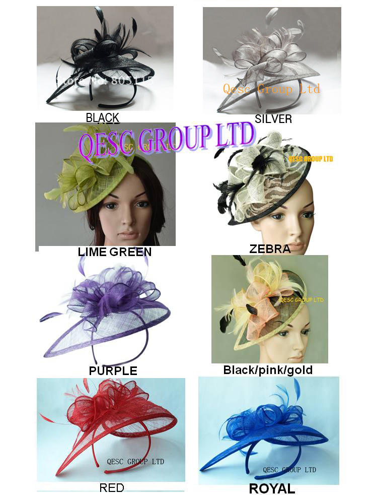 HOT sinamay fascinator/sinamay hat in SPECIAL shape w/feathers,8 colors.