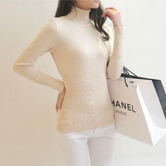 Зима осень женщины свитер мода Твердые Хлопок тонкий пуловер Женщина пуловеры и свитера ...