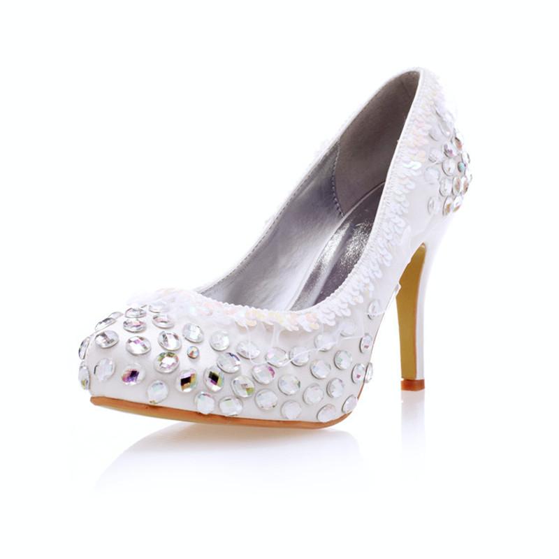 Фотография 2016 spring new wedding shoes white rhinestone dress shoes round toe lace flowers high Heels single shoes satin bling lady pumps