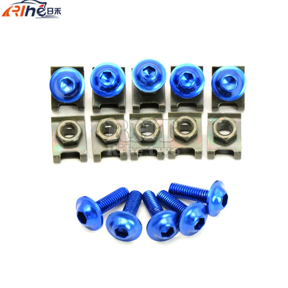 blue Universal 6mm motorcycle fairing screw kit set screws Yamaha YZF R6 99 00 01 02 R1 R3 R25 Tmax T MAX 500 530  -  Automobike parts store store