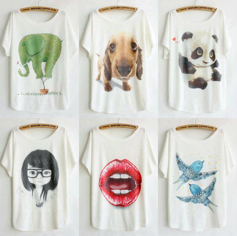 new style thin plus size loose batwing sleeve women's short sleeve cartoon animal t-shirt tops tees womens t shirt 110 models(China (Mainland))
