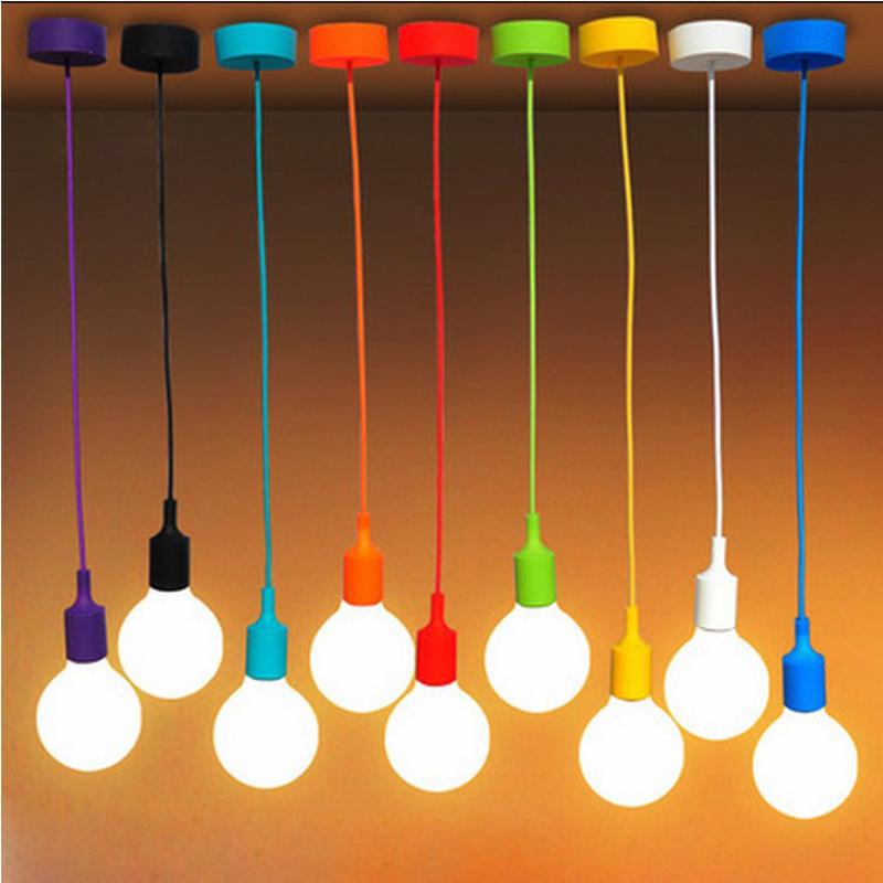 Colorful Modern Pendant Lights High Quality E27 Lamp Holder Pendant Lamp Vintage Edison Bulbs Bar/Bedrooms Decoration Lighting(China (Mainland))