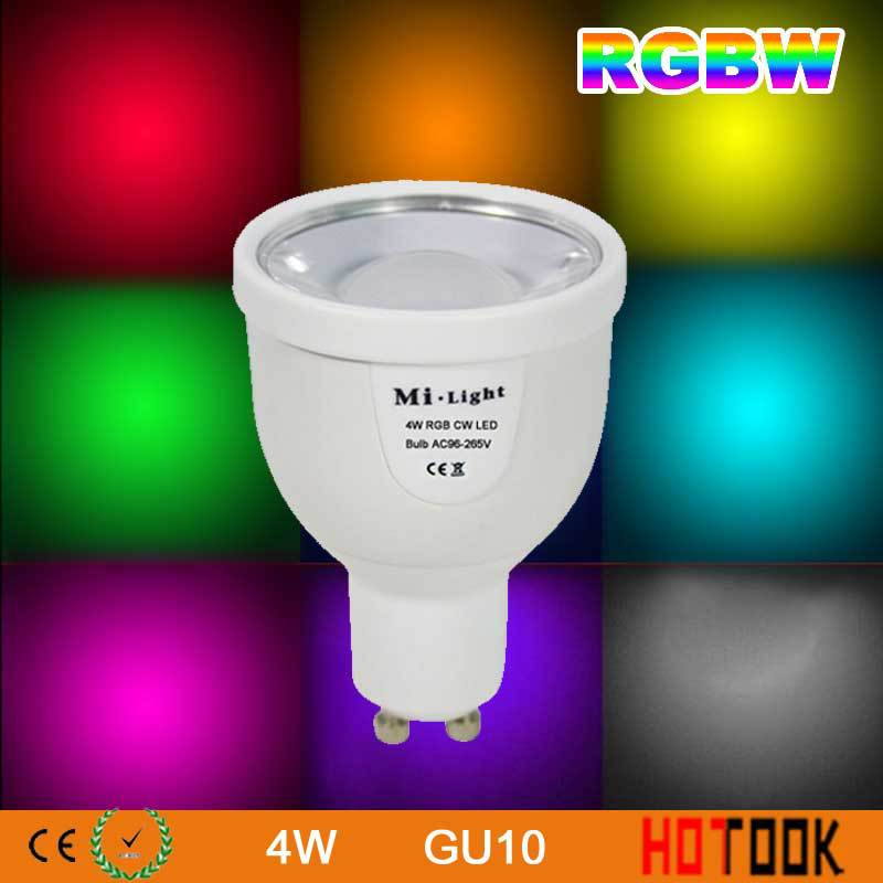 Mi-Light 2.4G 4W GU10 LED Spotlight RGBW Color Dimmable WIFI Bulb Lamp 86-265V for Home Party decoration Wireless WIFI Control(China (Mainland))