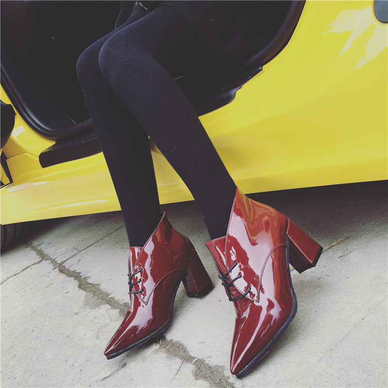 2016 fashion autumn spring pointed toe thick heel lacing boots high-heeled patent leather side zipper martin MLE0087 - My Happy Niu Store store