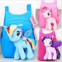 New Brand High Quality Cute 3D My Little Pony Minion Plush Backpack Children's Shoulder Bag Cartoon School Bag for Kids Satchel(China (Mainland))