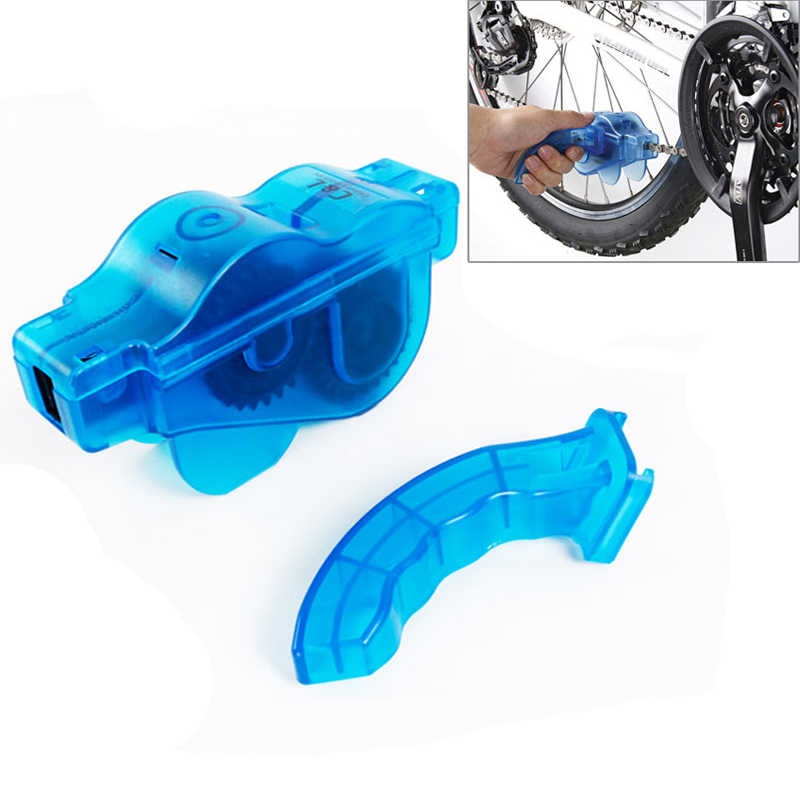 Blue Portable Bicycle Chain Cleaner,Bike Clean Machine Brushes Scrubber Wash Tool, Mountain Cycling Cleaning Kit Outdoor Sports(China (Mainland))