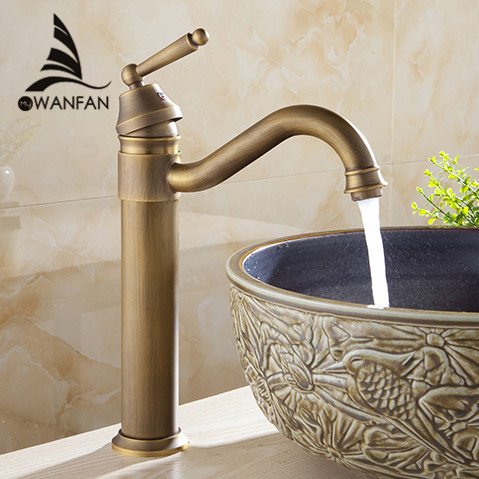 Free shipping Tall Design Antique Brass water tap Bathroom Basin Sink Faucet Vanity Brass Faucet Water tap crane 6633(China (Mainland))