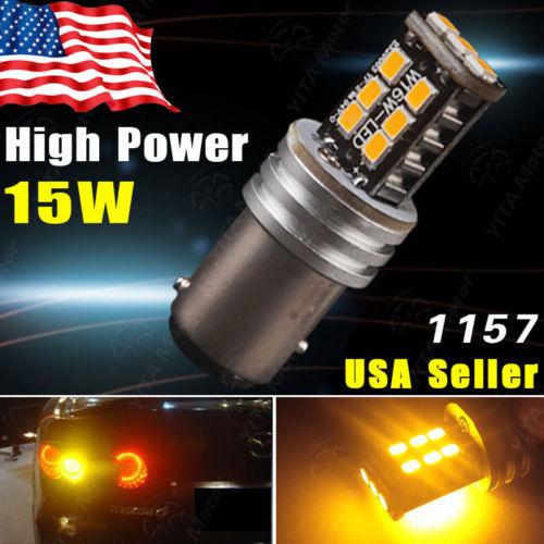 1pcs 1157 BAY15D 2835 15W Amber Yellow High Power Tail Brake Turn Signal LED Light Car styling Interior External Light Bulb -DE(China (Mainland))