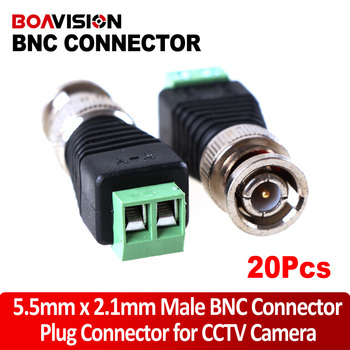 20PCS BNC Connector Male Coax CAT5 to Camera Connector BNC Terminal For CCTV Camera