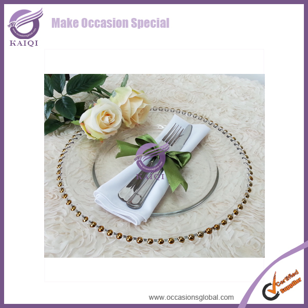 #18264 New 8pcs gold beaded glass charger plates in Event & Party Supplies(China (Mainland))