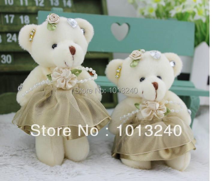 Free shipping 12pcs/lot 12CM silk mini joint diamond teddy bear toy bouquet material/wedding gift(China (Mainland))