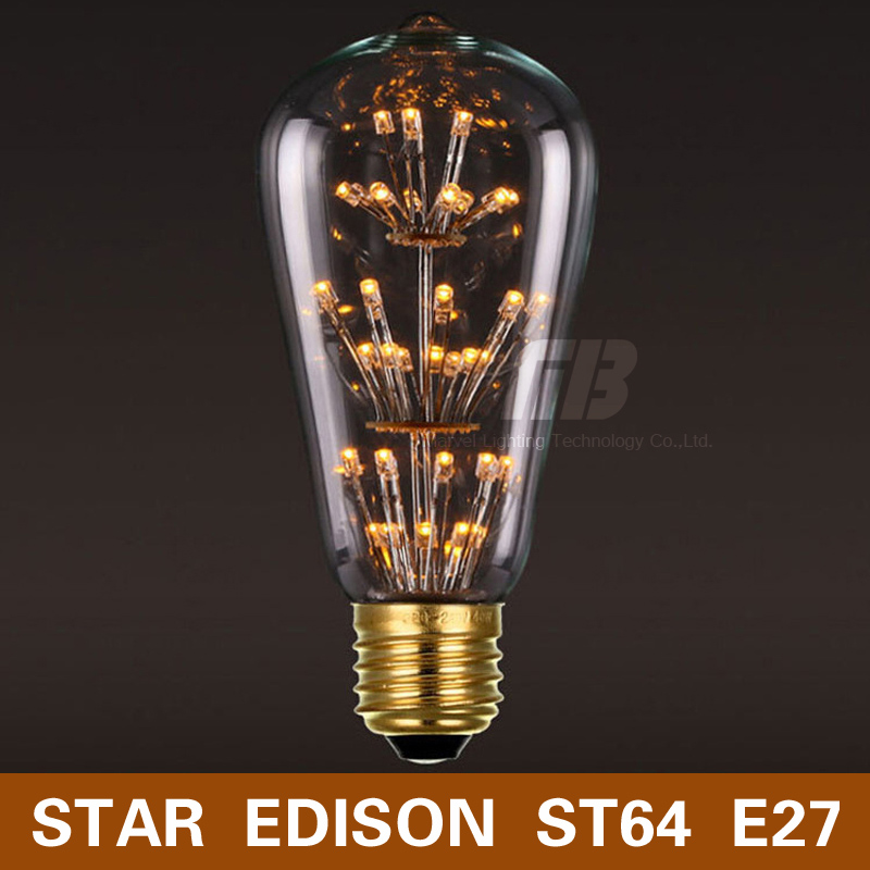 Antique Loft Style Edison Star ST64 LED Bulb E27 220V Warm White Light Retro Style Fit for Rope lights Chandelier Wall Lamp(China (Mainland))