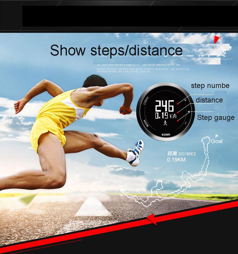 Original EZON T023B01 sports watch Step gauge 50m waterproof Outdoor sports series running free shipping