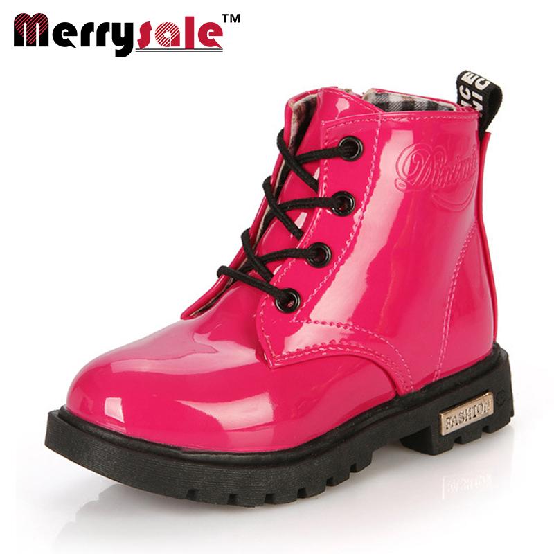 2017 children Korean version of Martin boots leather waterproof boots leather shoes children shoes
