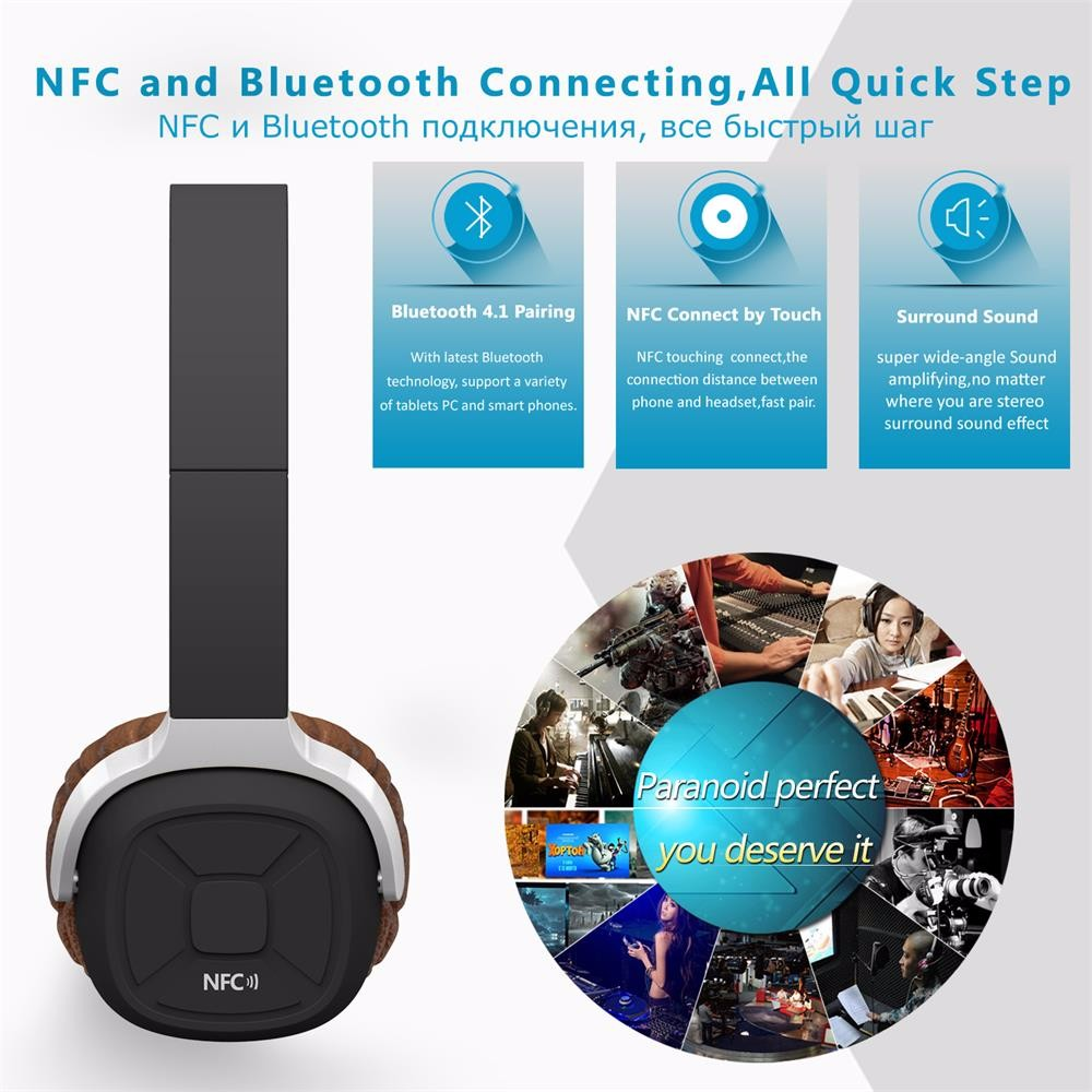 New Bee Wireless Bluetooth Headphones with Mic NFC Sport Bluetooth Headset with Pedometer App Stereo Earphone for Phone Computer