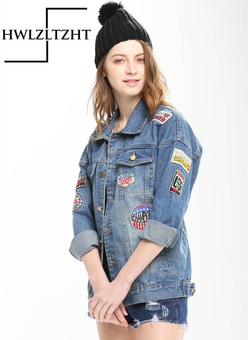 Women Spring Autumn Letter Embroidery Denim Jacket Uniform Coat Student Boy Friend Style Cowboy Jacket For Women Slim Jacket(China (Mainland))