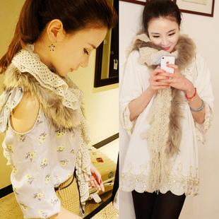 2012 raccoon fur tassel scarf autumn and winter fur scarf kmj25(China (Mainland))