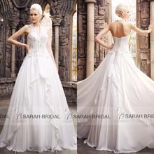 2015 Elegant White Halter Neck Chiffon Wedding Dresses Fashionable Crystal Lace Up Long Bridal Dresses SARAH BRIDAL MZY013(China (Mainland))