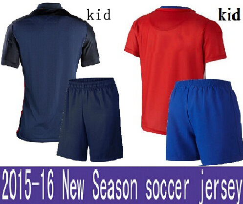 2015 2016 youth children kits kids football suits 15 16 home red & away black Soccer Jerseys set baby Boy & girl camiseta(China (Mainland))