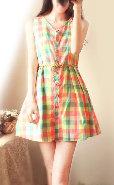 Vintage vintage elegant plaid neon color fluid belt big skirt sleeveless one-piece dress
