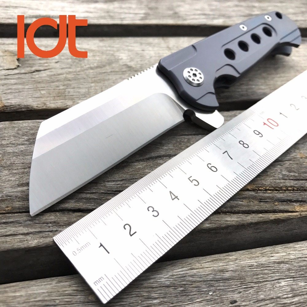 Buy LDT Rad Tactical Folding Knife D2 Blade Titanium Handle Ball Bearing Camping Tools Outdoor Pocket Survival Hunting Knives OEM cheap