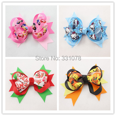 "Trial Order 5"" hello kitty baby Hair Bow Halloween Boutique Hair Bow princess Christmas Hair Accessories 4pcs/lot Free Shipping(China (Mainland))"