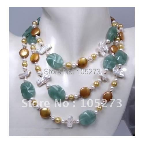 Surprising!48''inchs long pearl necklace AA 4-30MM Green Jade Chocolate Coin Pearl & Freshwater Pearl Necklace Fashion Jewelry