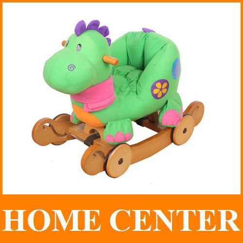 Animal Design Dual-function Children Dinosaur Plush Rocking Horse Baby carriage  toys buggy with Wooden Wheels(China (Mainland))