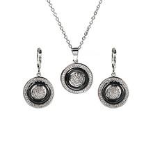 חתונה גביש לנשים זהב עגול לבן בריא קרמיקה תליון שרשרת עגילי טבעת סט תכשיטי חתונה מתנה(China)