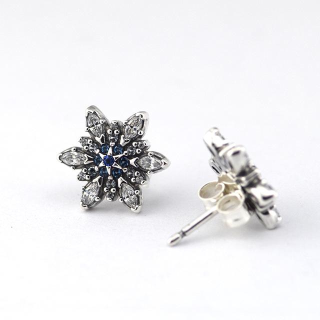 100% серебро 925 ювелирные кристаллизуют снежинка синие кристаллы и CZ серьги европейский гипоаллергенный мода серьги DIY