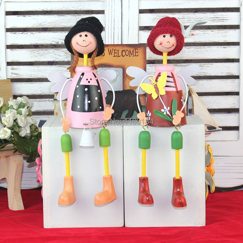 Rustic resin doll home accessories furnishings cartoon doll decoration 9x5x22cm 2pcs/lot free shipping(China (Mainland))