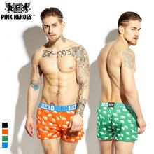 1 PCS HOT BRAND Pink Hero shorts men 100% cotton fashion cueca boxers men Black color boxershort high quality long boxers(China (Mainland))