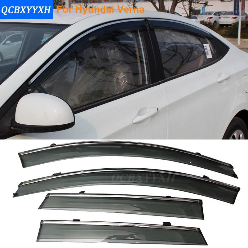 4PCS Car Awning Shelter Window Visor For Hyundai Sonata 8th/9th IS30 Elantra Avante Verna Azera Q240 2006-2016 Rain Shield Cover