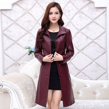 2016 Luxury Real Sheepskin Leather Suede Coat  Spring Autumn Women Trench Outerwear Coats Lady X-Long Overcoat VK3012(China (Mainland))