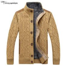 SAMHIBUGLE мужские свитера Зимние теплые толстые бархатные свитера однобортные повседневные мужские кардиганы, Свитера с узором трикотаж 3XL(China)