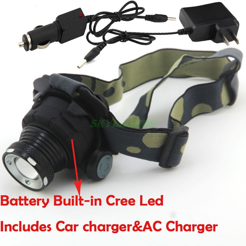 Super CREE LED 2000LM LED Zoomable 3-mode Headlamp Headlight Head Light Lamp Built-in Battery + Car Charger + AC Charger(China (Mainland))