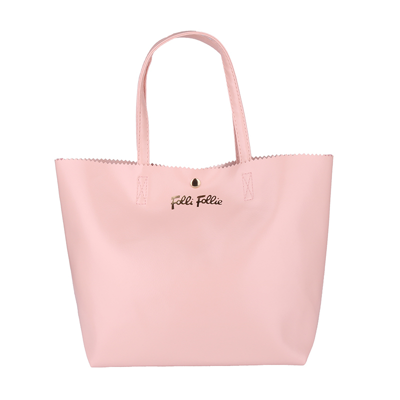 Contracted Solid Color Leather Shoulder Bag Hand Carry Bags Pink Button No Zipper Bag Large Capacity(China (Mainland))