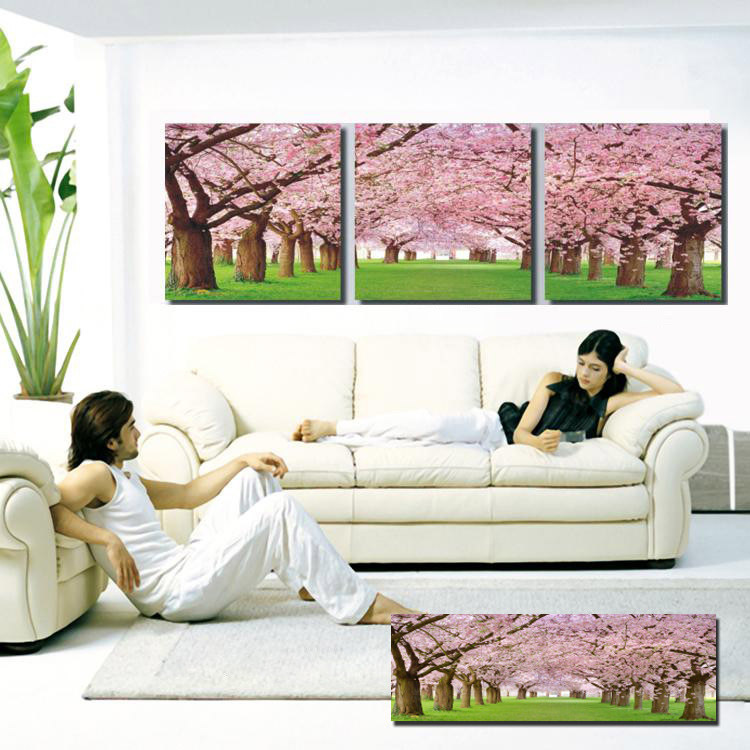Modern Oil Painting Prints Canvas Wall Pictures For Bedroom Decoration Romantic Cherry Blossoms