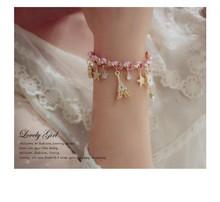 Womens Accessories Fashion Stars Flower Heart Poker Crystal Bracelet Leather Rope Paris Eiffel Tower Crown Bracelet(China (Mainland))