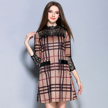 Msguide Women Elegant Tartan Check Plaid Colorblock Lace Synthetic Leather Patchwork Pocket Party Office Fitted A-Line Dress 861