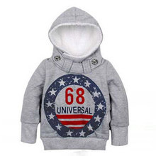 New 2016 Children Clothing Boys Hoodies Sport Sweatshirts Kids Clothes Autumn Letter Jacket Grey Coat , Free Shipping KJ002