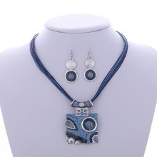 Fashion Jewelry Set Silver Filled Leather Geometry Square Pendant Necklaces Drop Earrings Jewelry Set Factory Wholesale Price(China (Mainland))