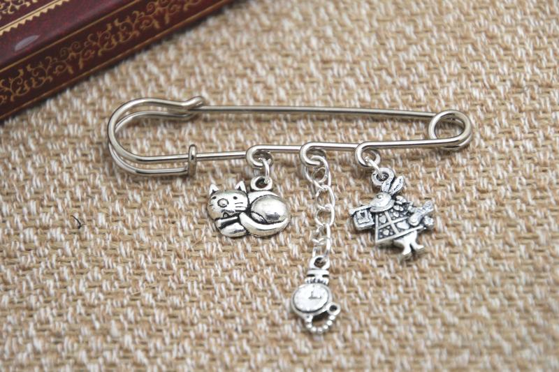 12pcs Alice in Wonderland I m late themed charm font b kilt b font pin brooch